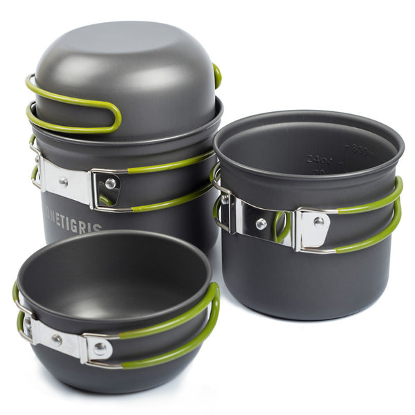 4 piece camping cook set pans pots bowls military army mess