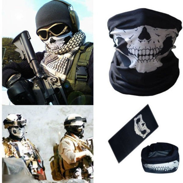 Airsoft Military Skull mask scarf neck gator sand motorcycle