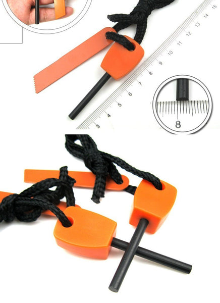 magnesium fire rod flint knife orange camping