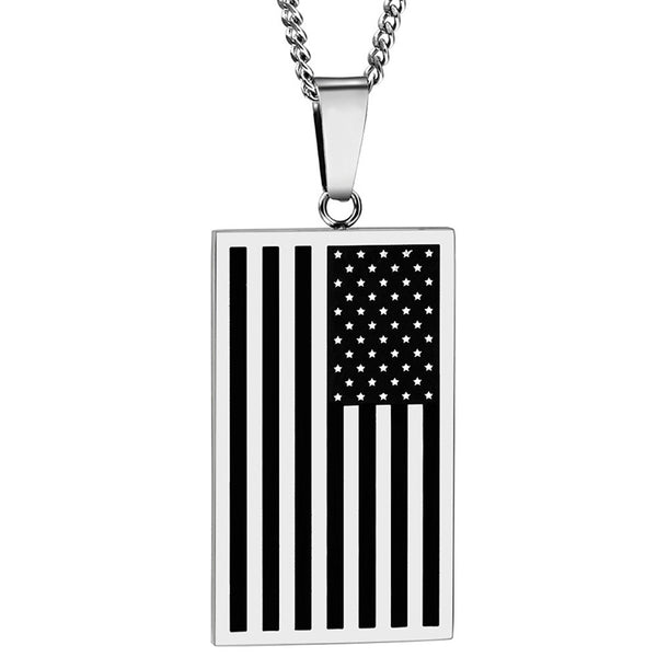 United States Flag Necklace USA Gold or Silver Free shipping