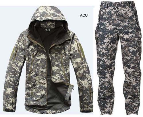 Waterproof SoftShell camo jacket and pants for hunting hiking