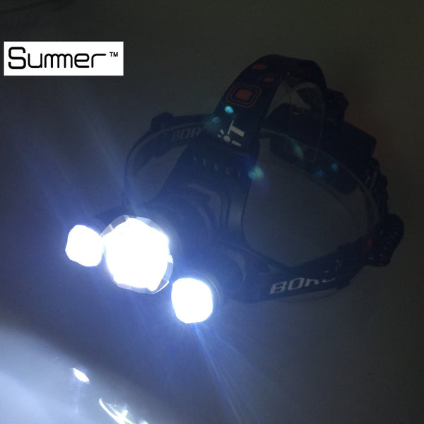 8000 lumen LED headlamp with charger and batteries T6 2 R5 FREE USA Shipping