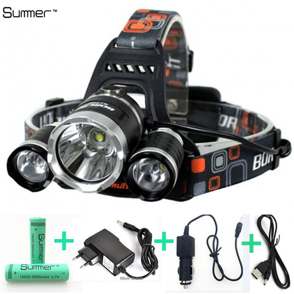 8000 lumen LED T6 CREE R2 headlamp rechargeable flashlight hiking