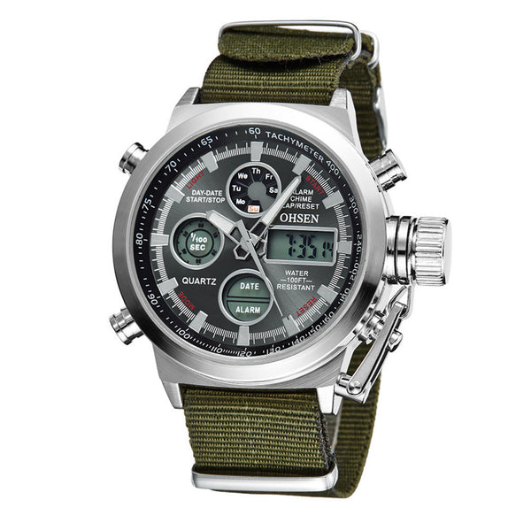 military canvas watch quartz calendar date stop watch
