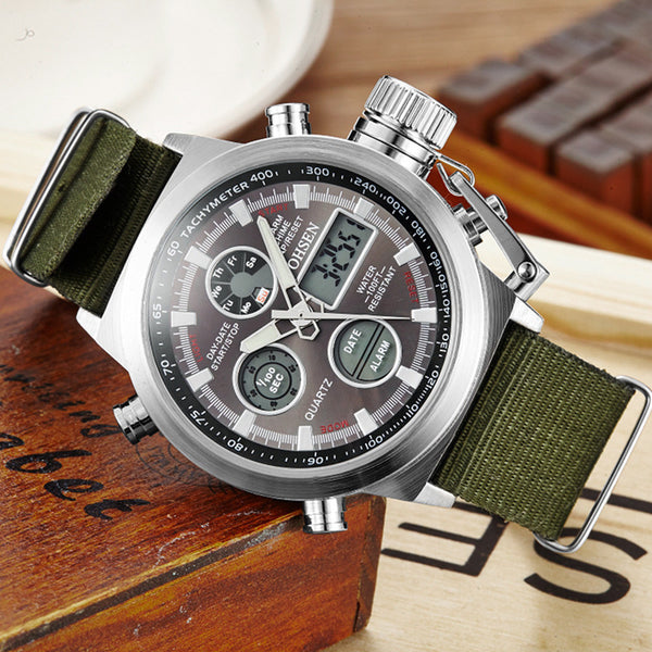 Military Watch with Calendar/Date Quartz Movement Stop watch