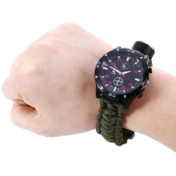 Mission Critical Outdoor Survival Tactical Watch with Paracord Fire Starter Bracelet