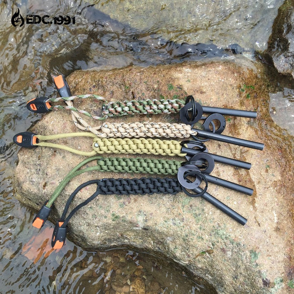 military paracord firestarter magnesium ferro rod whistle survival