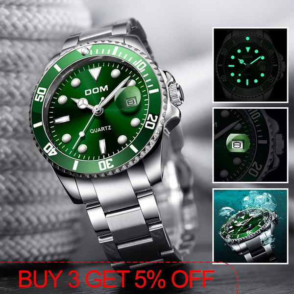 DOM Green Dial Luxury Men's Watch 30m Waterproof Date Quartz