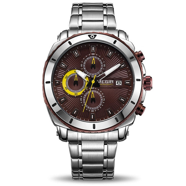MEGIR Chronograph Quartz Mens Watch Stainless Steel