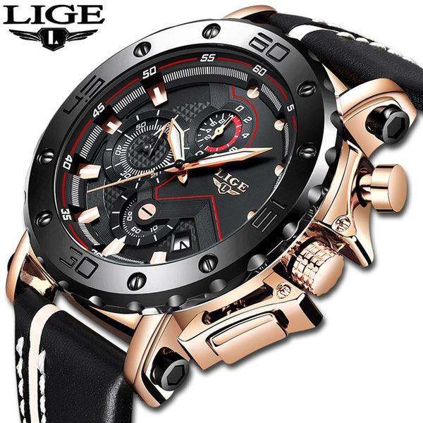 LIGE Bold Chronograph Watch with leather band