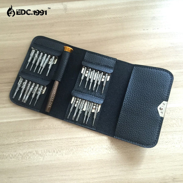 25 piece mini EDC screwdriver kit with wallet