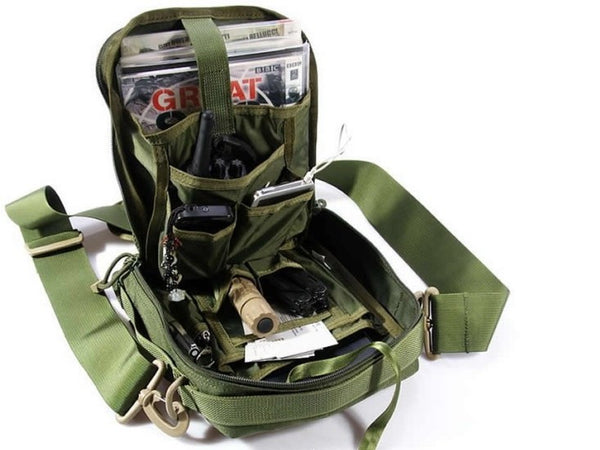 inside of shoulder military bag green army