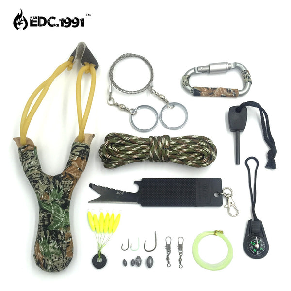 Survival Kit 12 piece with slingshot knife firestarter fishing kit