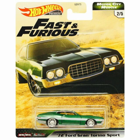 Hot Wheels Premium Motor City Muscle Fast & Furious '72 FORD GRAN TORINO SPORT (Fast & Furious)
