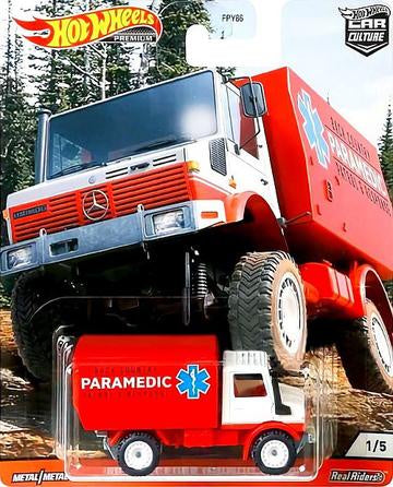 Hot Wheels Premium Car Culture Wild Terrain '88 MERCEDES UNIMOG U1300 PARAMEDIC Real Riders