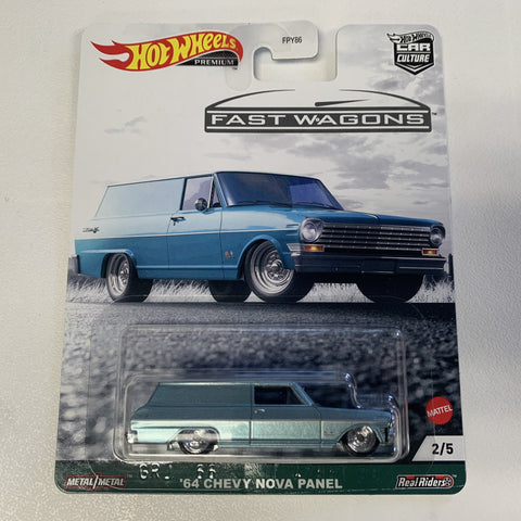 MTFPY86C1 Hot Wheels Car Culture Fast Wagons Mix 2 64 CHEVY NOVA PANEL