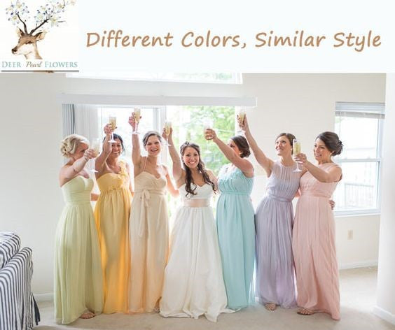 Different Colors in Similar Styles Bridesmaid Dresses