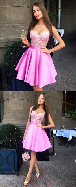 Short Pink Homecoming Dress, School Outfit, Short Prom Dresses For Teens pst1687