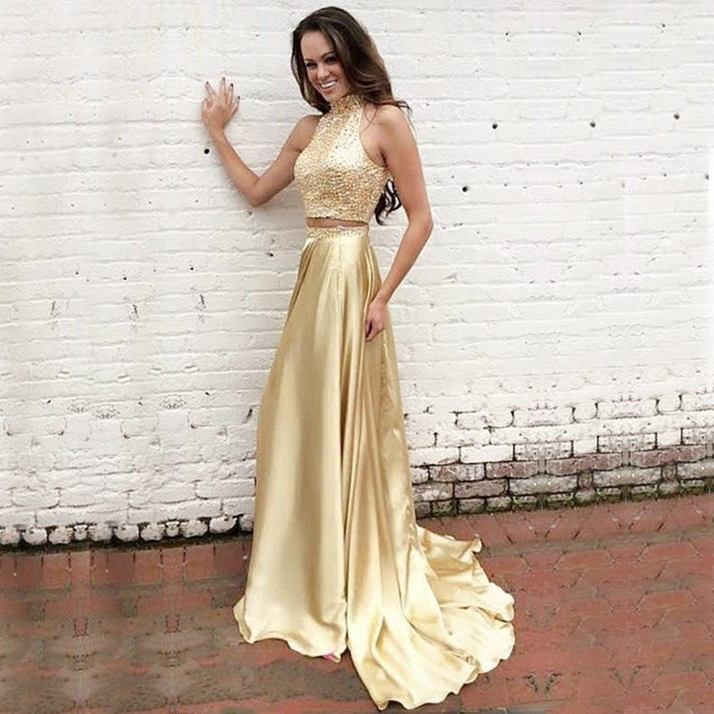Two Pieces Gold Prom Dresses, Formal Dresses, Wedding Party Dresses,Sweet 16 Dresses