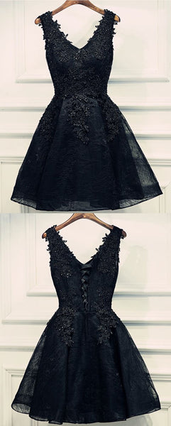 Black Lace Homecoming Dress, Short Prom Dresses For Teens pst1636
