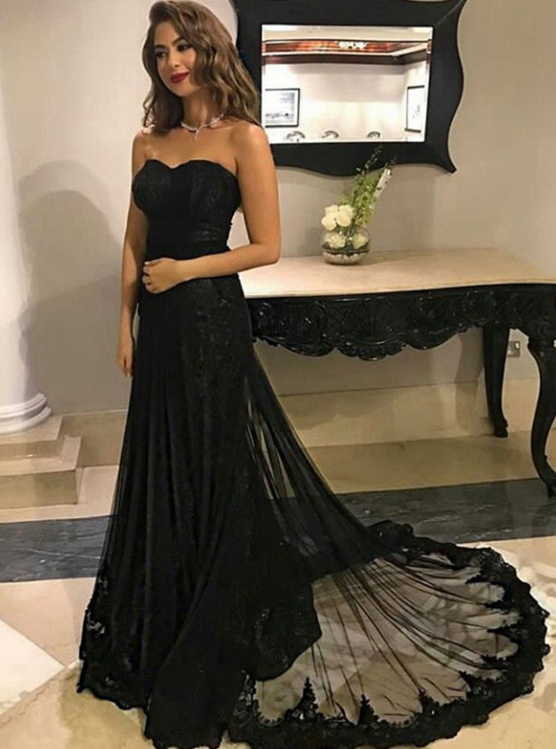 Black Lace Prom Dress Long, Prom Dresses, Graduation Party Dresses, Formal Wear, Pageant Dress pst1756