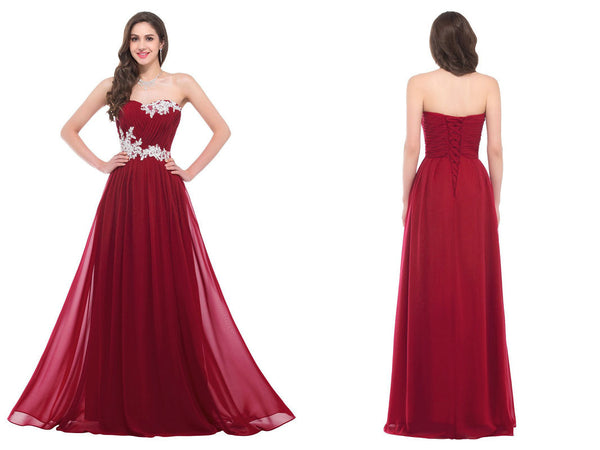 Floor Length Chiffon Evening Dresses Prom Gowns with Applique pst0051