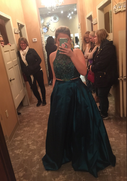 Two Piece Green Prom Dresses Graduation Party Dresses Formal Wear Banquet Gowns pst3004
