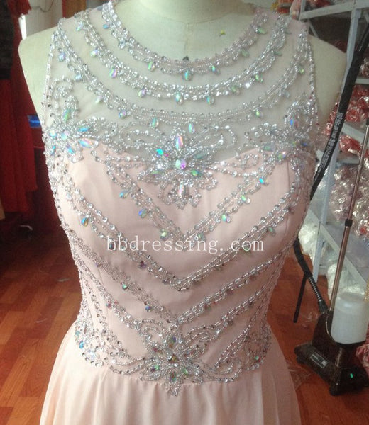 Dusty Pink Long Prom Dress with Beads Stones and Crystals pst0587