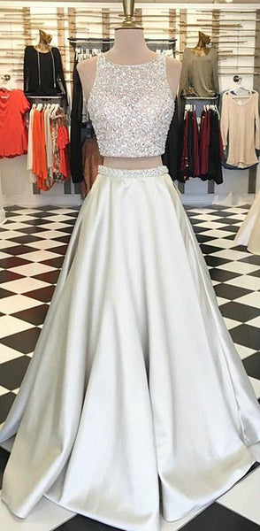 Two Piece Beaded Prom Dresses Satin Wedding Party Dresses Banquet Dresses