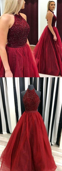 2017 High Halter Neckline Burgundy Long Prom Dress  For Teens