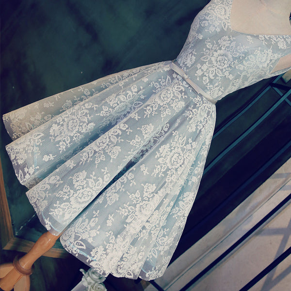 Pale Blue Lace Homecoming Dresses, Short Prom Dresses, Banquet Dresses