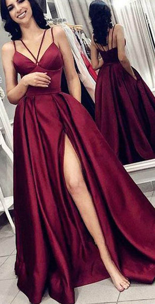 Satin Burgundy Prom Dresses Party Dresses with Spaghetti Straps