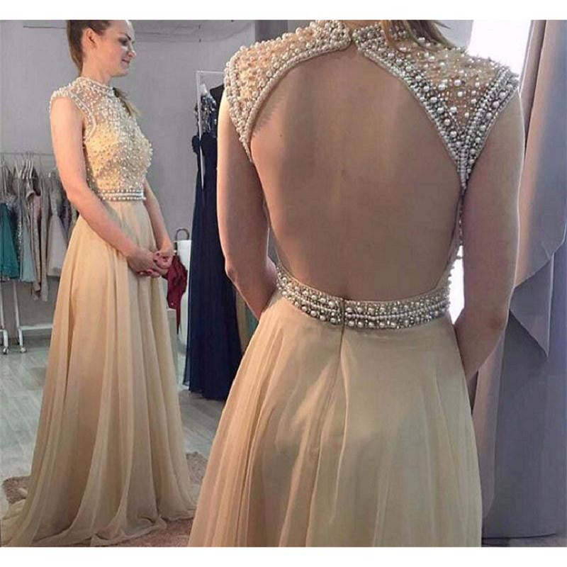 2017 Backless Beaded Prom Dresses Party Dresses Banquet Dresses