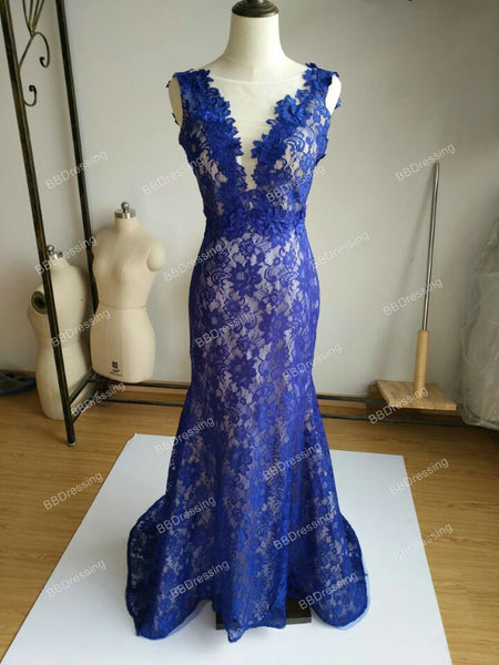 Royal Blue Mermaid Lace Prom Dress Evening Gown pst0589