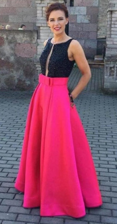 Black And Pink Prom Dress with Pockets, Prom Dresses, Graduation Party Dresses, Formal Wear, Pageant Dress pst1757