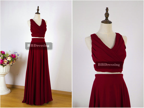 Gorgeous Burgundy 2 Pieces Prom Dresses Bridesmaid Dresses For Party pst1555