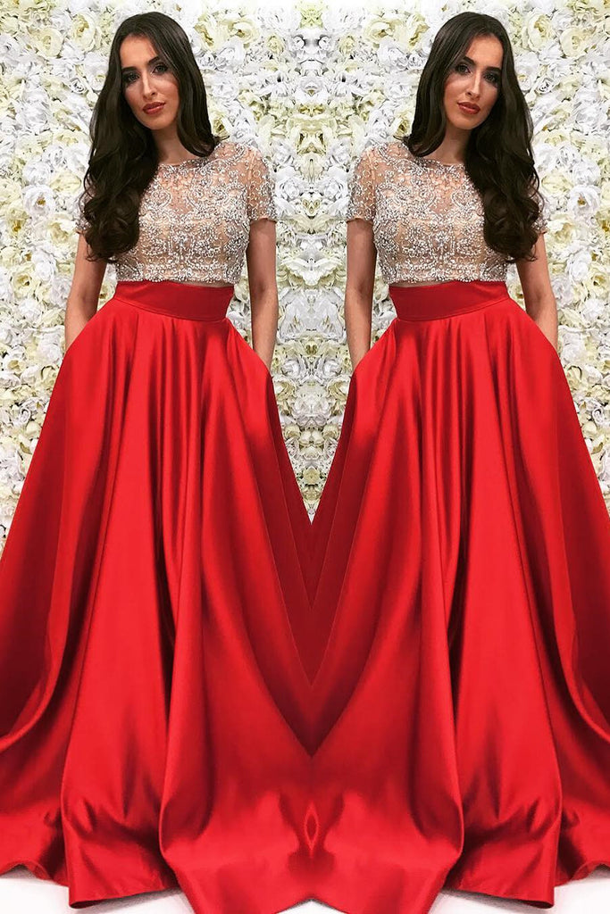 Two Pieces Prom Dress with Short Sleeves, Prom Dresses, Graduation Party Dresses, Formal Wear, Pageant Dress pst1768