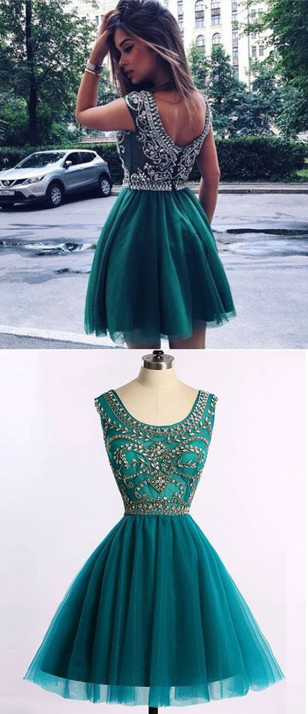 Green Homecoming Dress With Stones, School Outfit, Short Prom Dresses For Teens pst1673