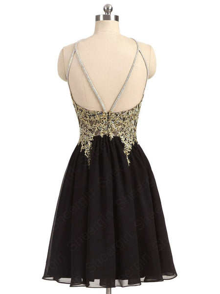 2017 Black and Gold Homecoming Dress, Back To School Dress, Short Prom Dresses For Teens pst1666