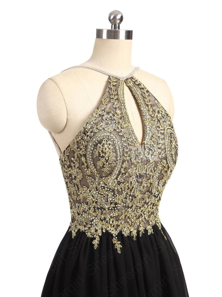 2017 Black and Gold Homecoming Dress, Back To School Dress, Short ...