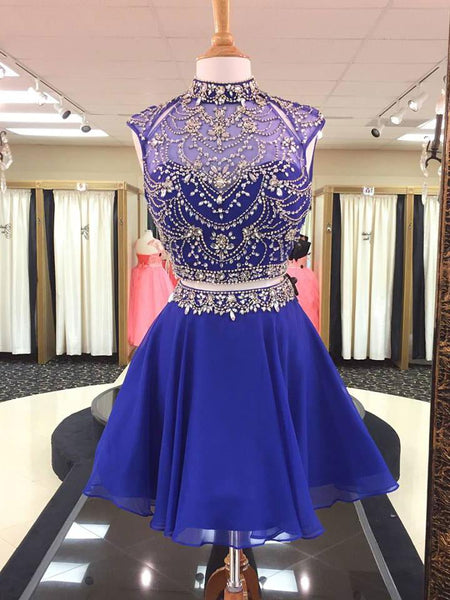 Two Pieces Royal Blue Homecoming Dress with Top Beading, Back To School Dress, Short Prom Dresses For Teens pst1663