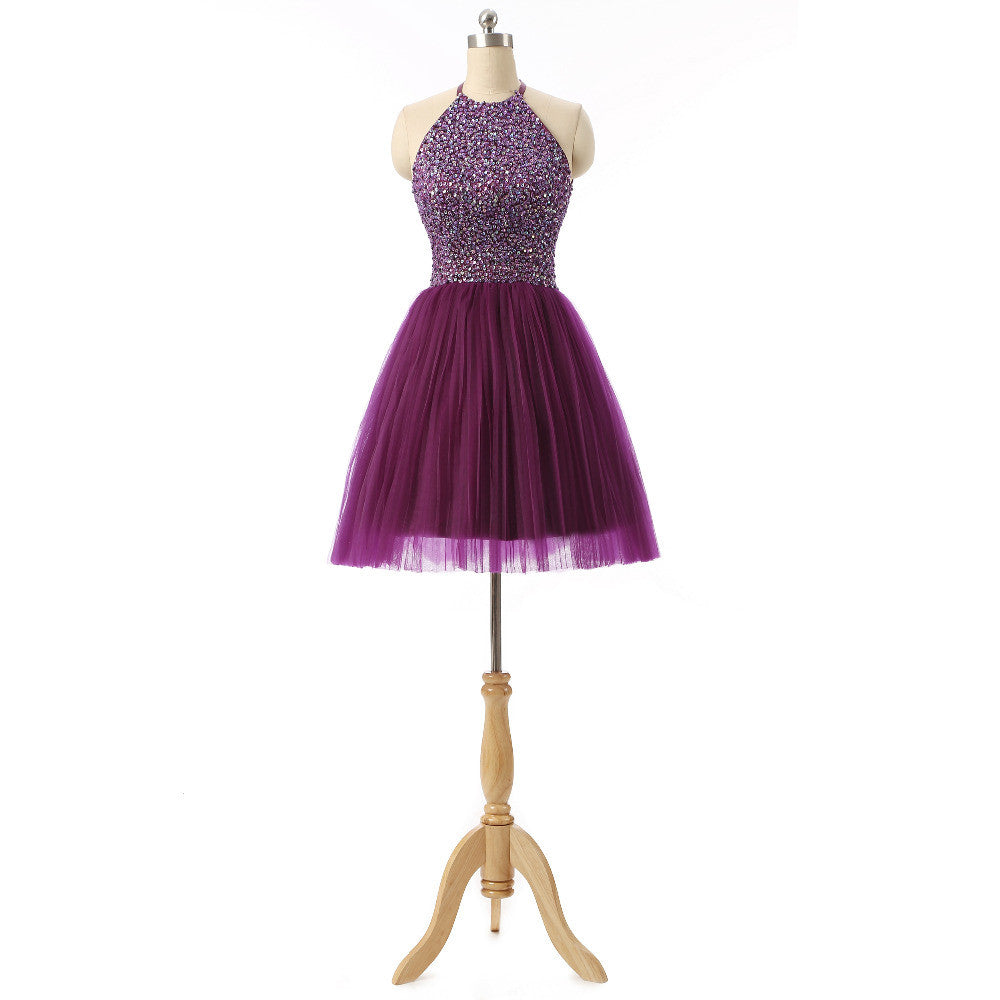 2016 Halter 8th Grade Graduation Dresses Beads Short Purple Semi Formal Dress Homecoming Dresses