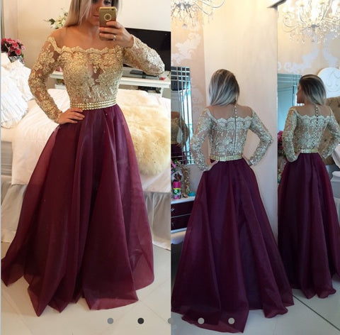 2017 Applique and Tulle Prom Dresses Celebrity Dresses with Long Sleeves