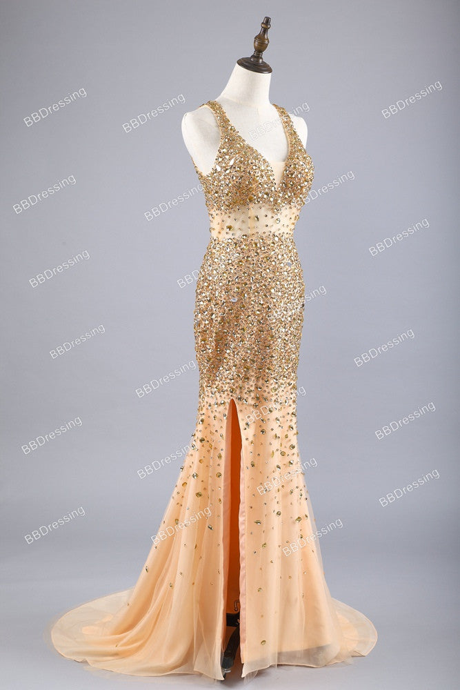 e0a05094e0b 2018 Sexy Long Crystal Beaded Prom Dress With Slit Mermaid Prom Dresses  Evening Gown Formal Wear pst1546