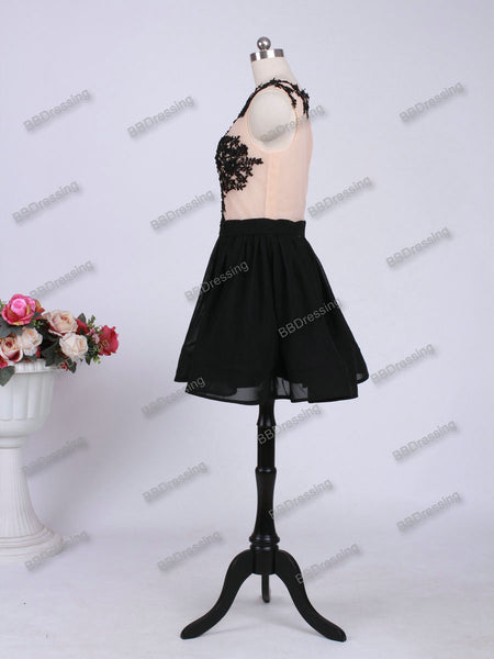 Black Short Prom Dress Homecoming Dresses pst0967