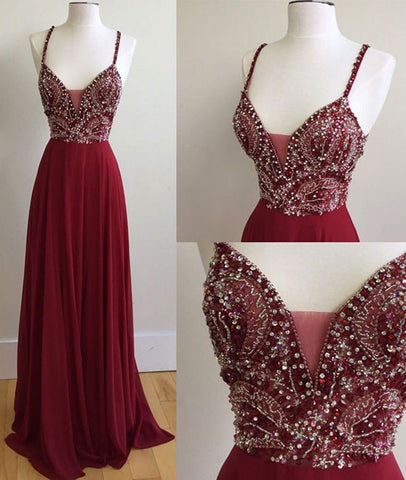 Long Beads Prom Gowns Celebrity Dresses Wedding Party Dresses Spaghetti Straps