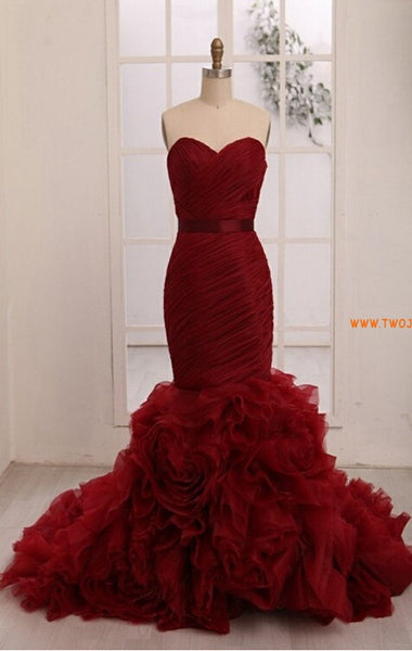 Burgunday Mermaid Prom Dresses pst0317