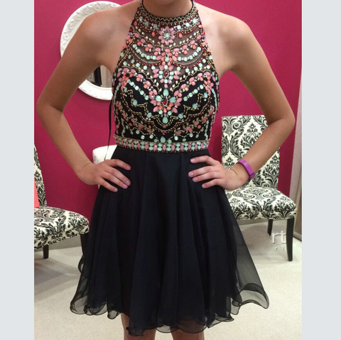 2016 Black Homecoming Dress with Colored Details Short Prom Dresses Halter Strap pst1364