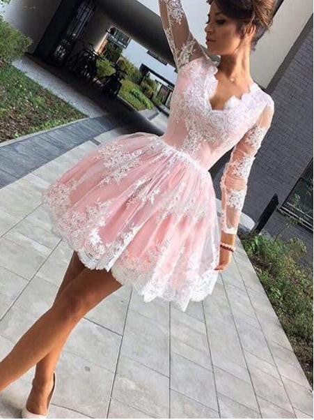 Lace Homecoming Dress With Long Sleeves Short Prom Dresses For