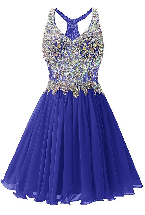 Royal Blue Homecoming Dress With Stones, School Outfit, Short Prom Dresses For Teens pst1671